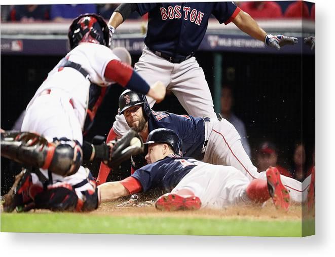 People Canvas Print featuring the photograph Dustin Pedroia And Brock Holt by Maddie Meyer