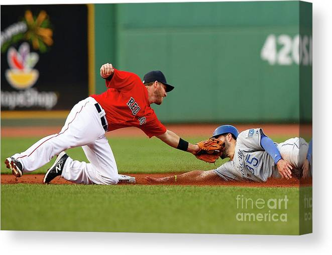 American League Baseball Canvas Print featuring the photograph Eric Hosmer And Stephen Drew by Jared Wickerham