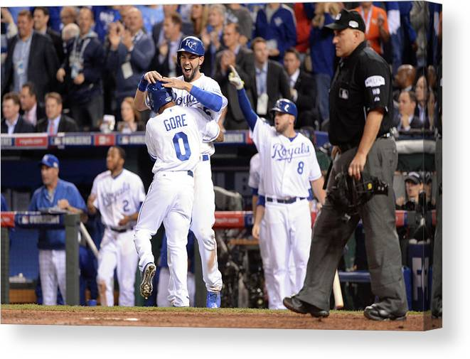 Playoffs Canvas Print featuring the photograph Eric Hosmer And Terrance Gore by Ron Vesely