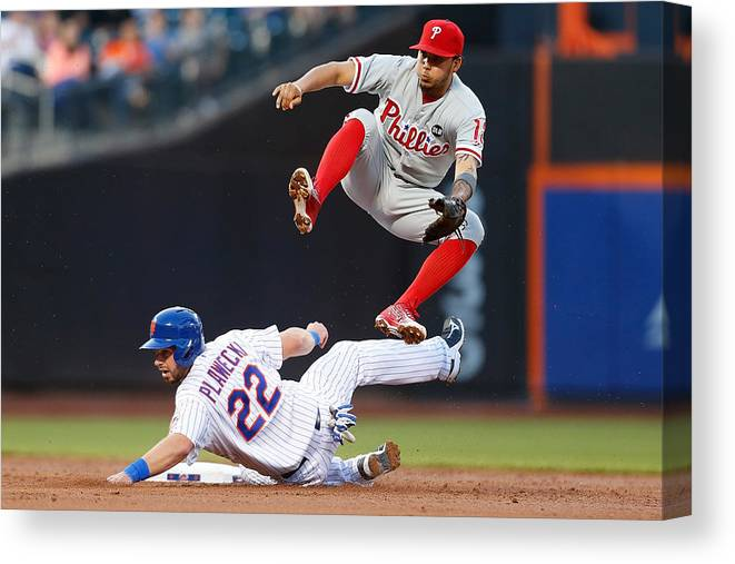 Double Play Canvas Print featuring the photograph Freddy Galvis by Mike Stobe