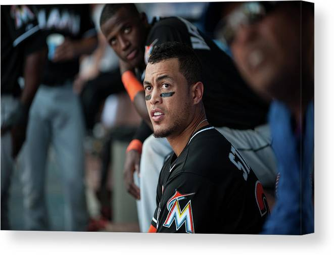 Citizens Bank Park Canvas Print featuring the photograph Giancarlo Stanton by Rob Tringali