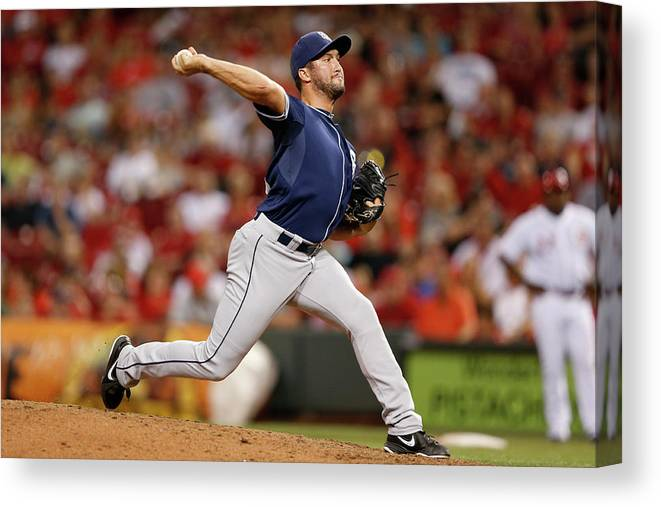 Great American Ball Park Canvas Print featuring the photograph Huston Street by Joe Robbins