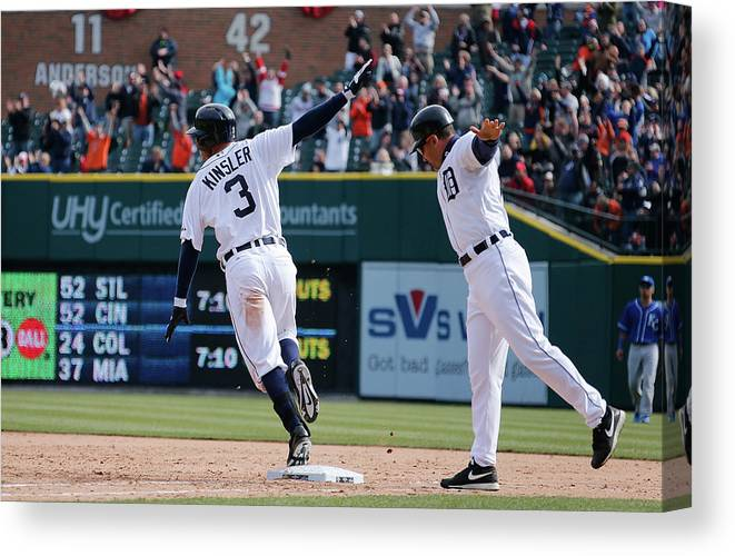 American League Baseball Canvas Print featuring the photograph Ian Kinsler And Omar Vizquel by Gregory Shamus