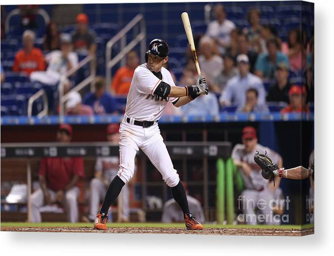 People Canvas Print featuring the photograph Ichiro Suzuki And Babe Ruth by Rob Foldy