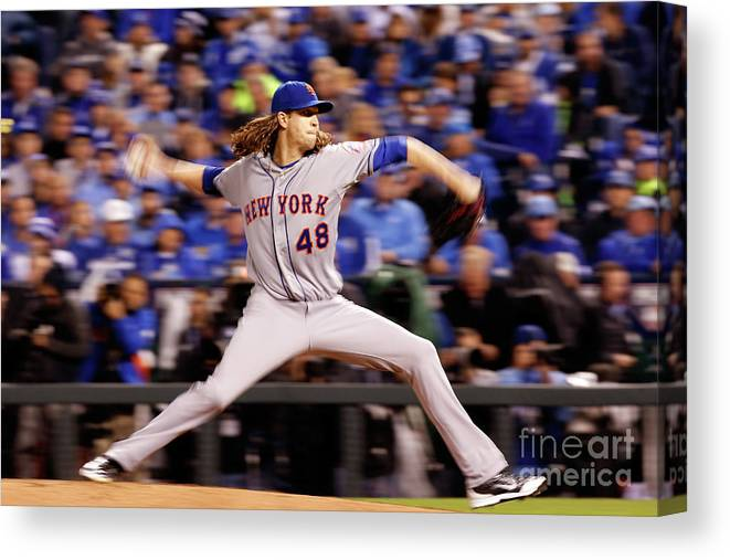 Jacob Degrom Canvas Print featuring the photograph Jacob Degrom by Christian Petersen