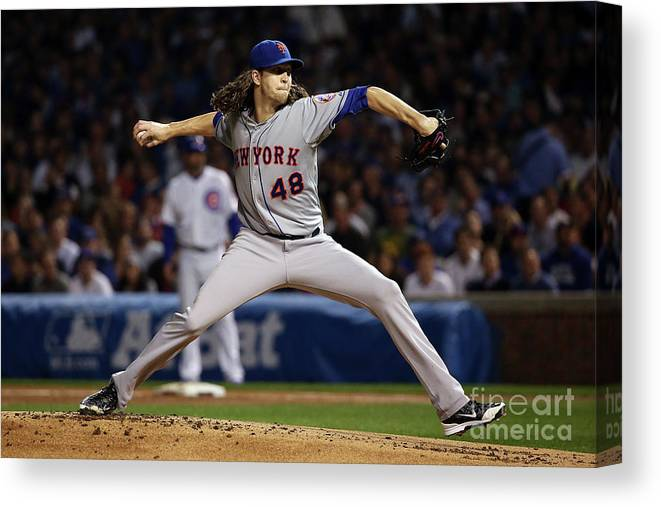 Jacob Degrom Canvas Print featuring the photograph Jacob Degrom by Jonathan Daniel