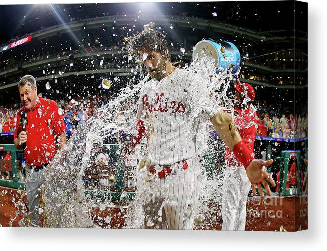 Three Quarter Length Canvas Print featuring the photograph Jean Segura And Bryce Harper by Rich Schultz