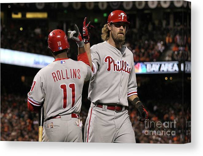 Playoffs Canvas Print featuring the photograph Jimmy Rollins And Jayson Werth by Justin Sullivan