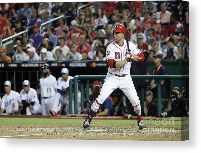 People Canvas Print featuring the photograph Joey Votto by Rob Carr