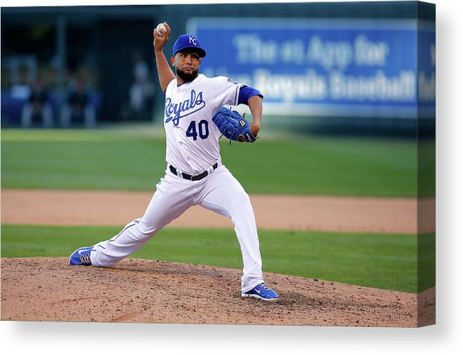 American League Baseball Canvas Print featuring the photograph Kelvin Herrera by Ed Zurga