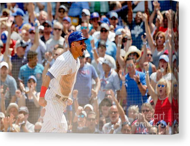 Second Inning Canvas Print featuring the photograph Kyle Schwarber And Willson Contreras by Jon Durr