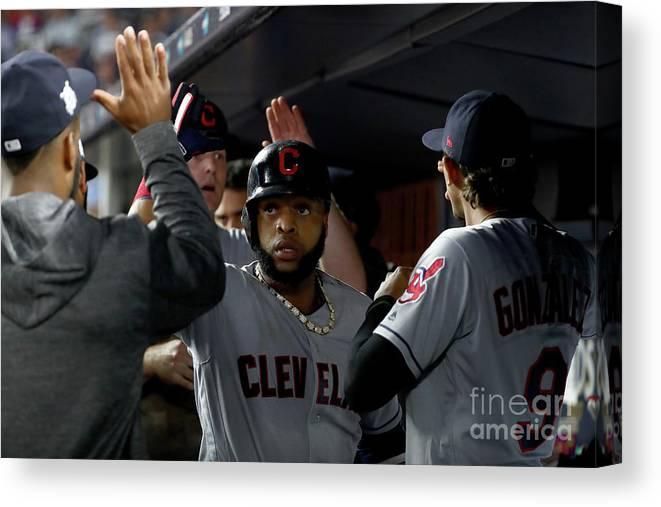 People Canvas Print featuring the photograph Luis Severino, Carlos Santana, And Jay Bruce by Al Bello