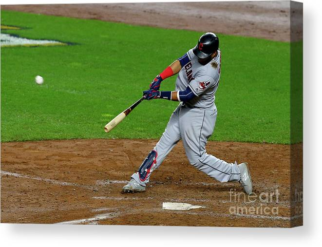 People Canvas Print featuring the photograph Luis Severino, Carlos Santana, And Jay Bruce by Mike Stobe