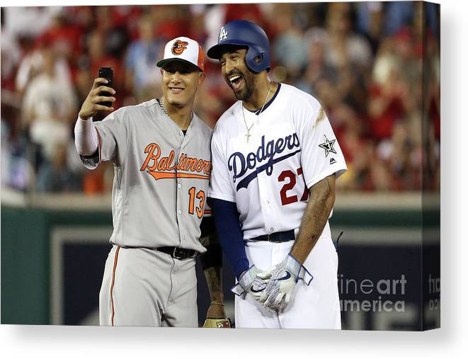Second Inning Canvas Print featuring the photograph Manny Machado And Matt Kemp by Patrick Smith
