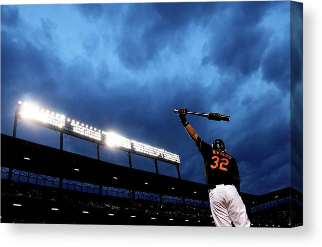 American League Baseball Canvas Print featuring the photograph Matt Wieters by Patrick Smith