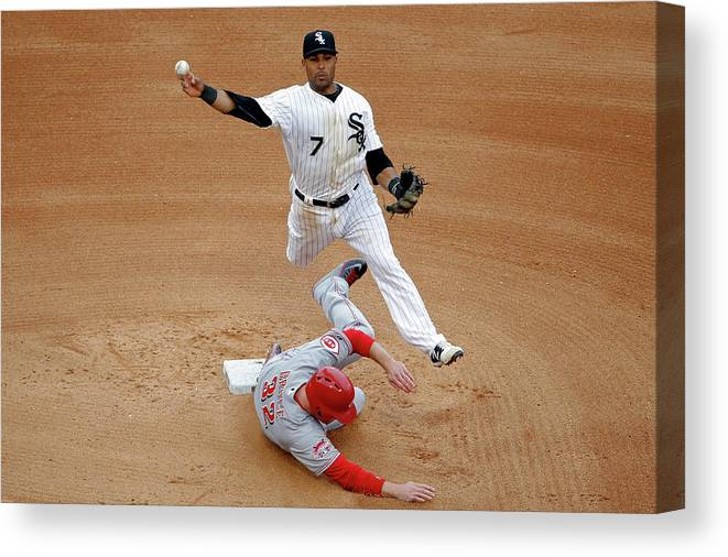People Canvas Print featuring the photograph Micah Johnson And Jay Bruce by Jon Durr