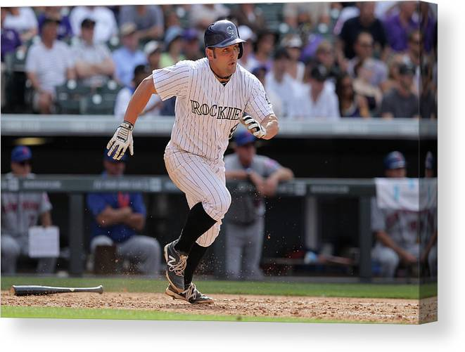 National League Baseball Canvas Print featuring the photograph Michael Mckenry by Doug Pensinger