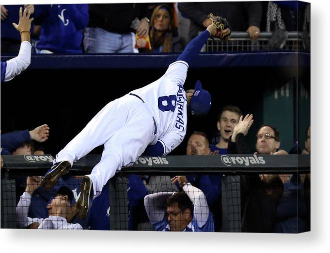 People Canvas Print featuring the photograph Mike Moustakas And Adam Jones by Ed Zurga