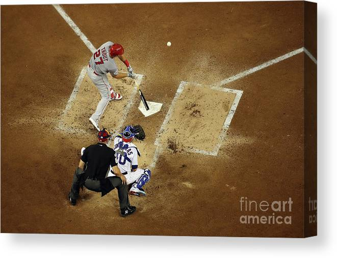 People Canvas Print featuring the photograph Mike Trout by Win Mcnamee