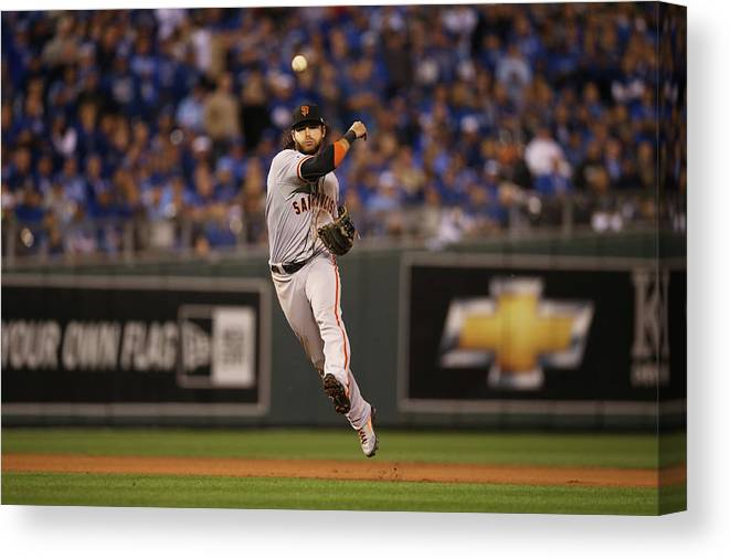 Playoffs Canvas Print featuring the photograph Omar Infante And Brandon Crawford by Brad Mangin