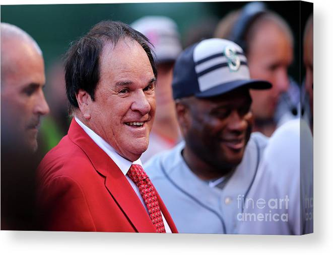Great American Ball Park Canvas Print featuring the photograph Pete Rose by Elsa