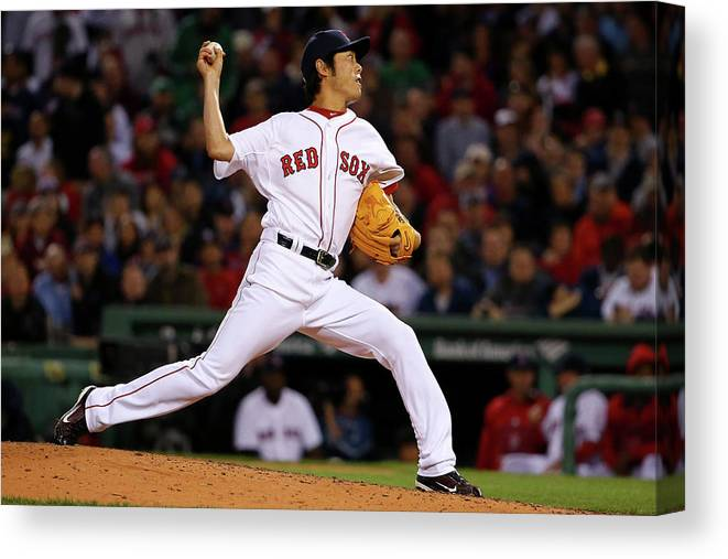 Ryan Hanigan Canvas Print featuring the photograph Ryan Hanigan And Koji Uehara by Maddie Meyer