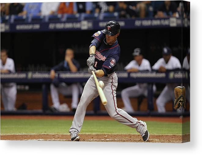 American League Baseball Canvas Print featuring the photograph Sam Fuld by Scott Iskowitz