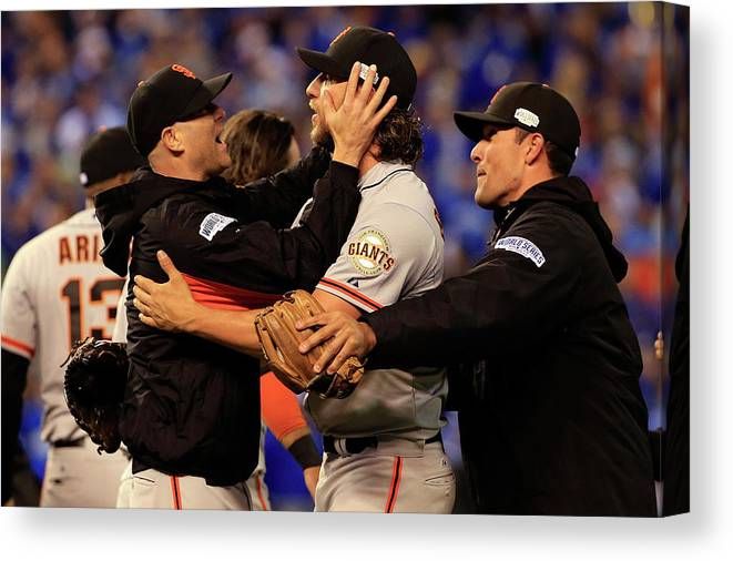 People Canvas Print featuring the photograph Tim Hudson And Madison Bumgarner by Jamie Squire