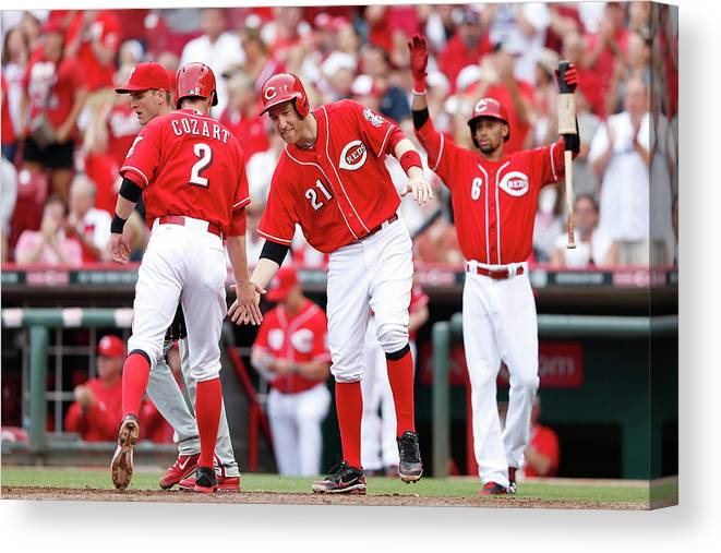 Great American Ball Park Canvas Print featuring the photograph Todd Frazier, Homer Bailey, And Zack Cozart by Joe Robbins