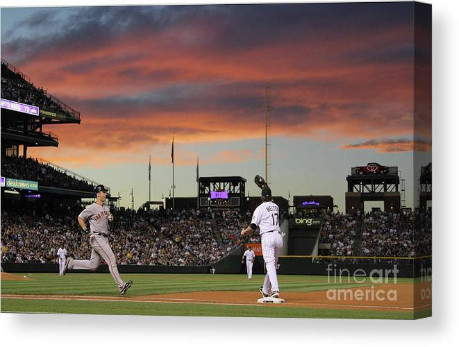 Todd Helton Canvas Print featuring the photograph Todd Helton And Buster Posey by Doug Pensinger