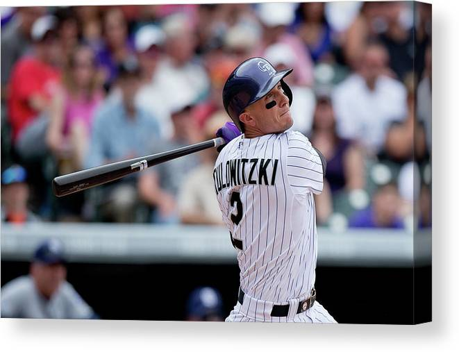 National League Baseball Canvas Print featuring the photograph Troy Tulowitzki by Justin Edmonds