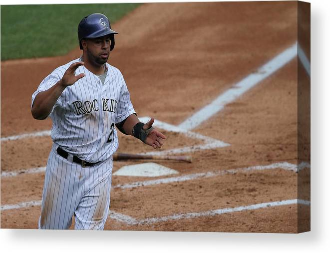 Second Inning Canvas Print featuring the photograph Wilin Rosario by Doug Pensinger