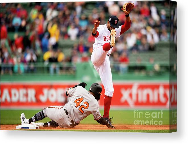 People Canvas Print featuring the photograph Xander Bogaerts And Jonathan Villar by Billie Weiss/boston Red Sox