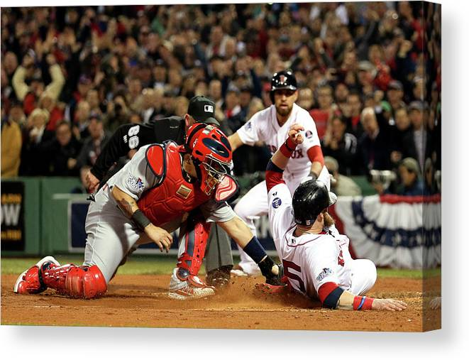 Playoffs Canvas Print featuring the photograph Yadier Molina And Jonny Gomes by Rob Carr
