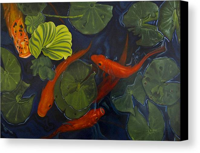 Painting Canvas Print featuring the painting Koi Ballet by Peter Muzyka