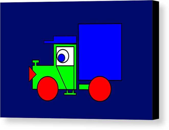 Joe The Truck Canvas Print featuring the digital art Joe The Truck by Asbjorn Lonvig