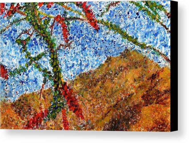 Watercolor Canvas Print featuring the painting Ocotillo In Bloom by Cynthia Ann Swan