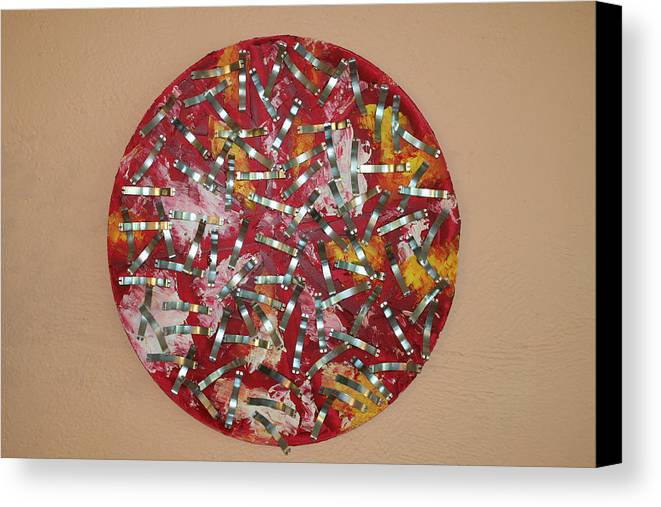 Canvas Print featuring the painting Red And Metal by Biagio Civale