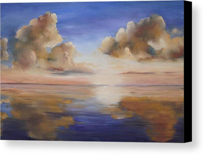 Landscape Canvas Print featuring the painting Sunrise On The Rio Grande by Maxine Ouellet