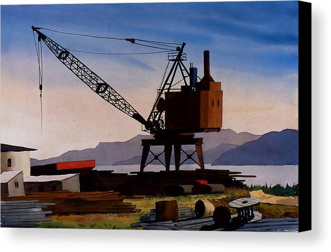 Crane Canvas Print featuring the painting The Oldcrane by Faye Ziegler