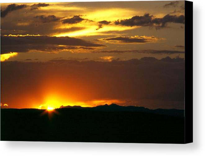 Landscape Canvas Print featuring the photograph Two Peaks Sunset by Lynard Stroud