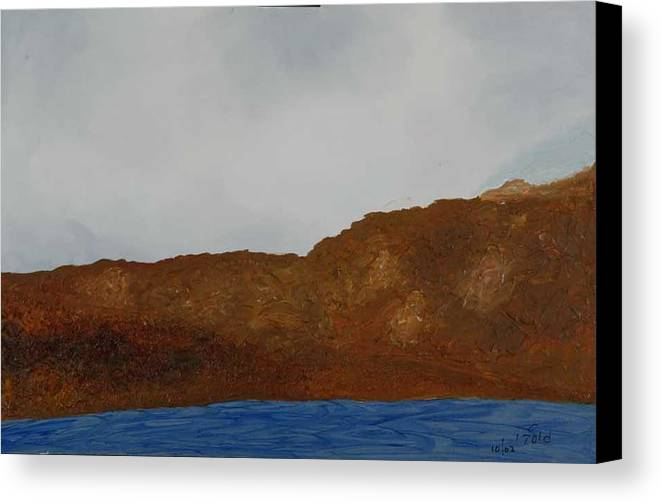 Water Canvas Print featuring the painting Water Mountain And Sky  by Harris Gulko