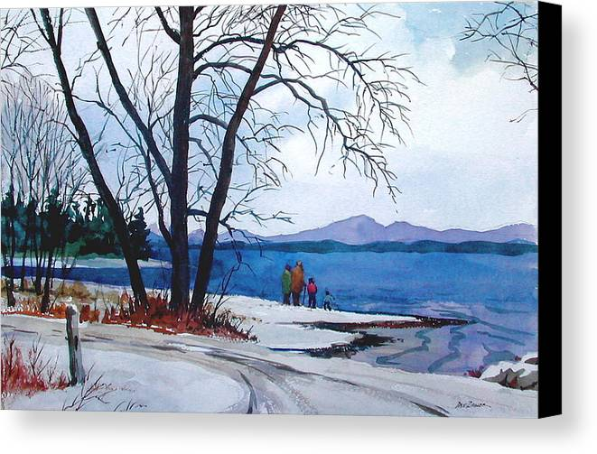 Winter Canvas Print featuring the painting Winter At The Lake by Faye Ziegler