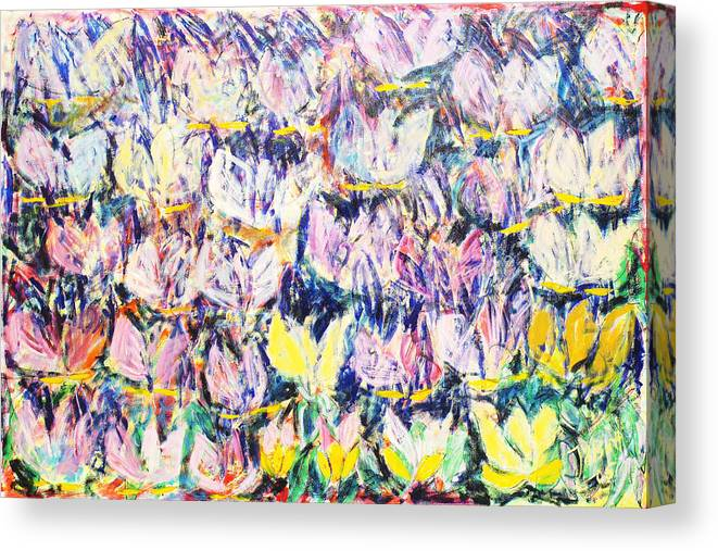 Abstract Flowers Tulips White Pink Yellow Green Blue Canvas Print featuring the painting Wild Tulips by Joan De Bot