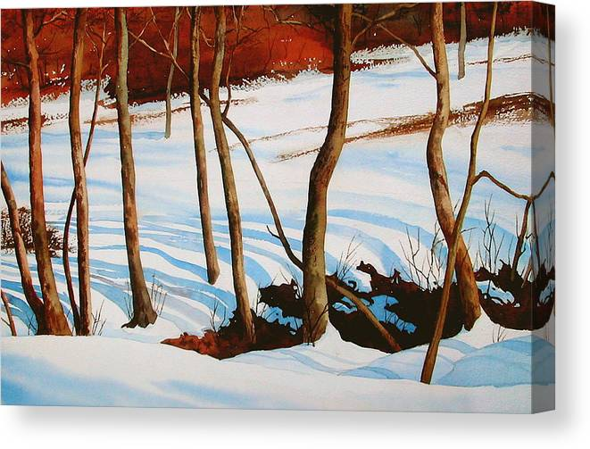 Landscape Canvas Print featuring the painting Winter Shadows by Faye Ziegler