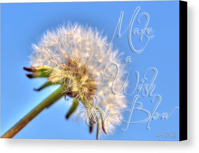 Taraxacum Canvas Print featuring the photograph 003 Make A Wish With Text by Michael Frank Jr