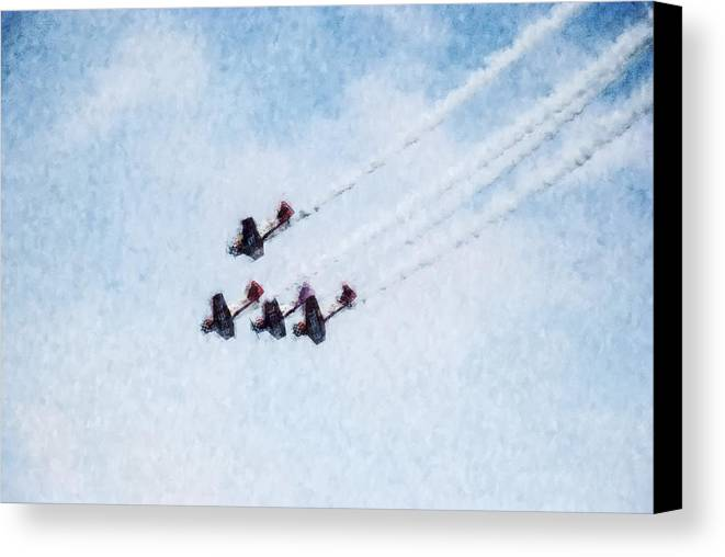 Chicago Canvas Print featuring the digital art 0161 - Air Show - Watercolor by David Lange