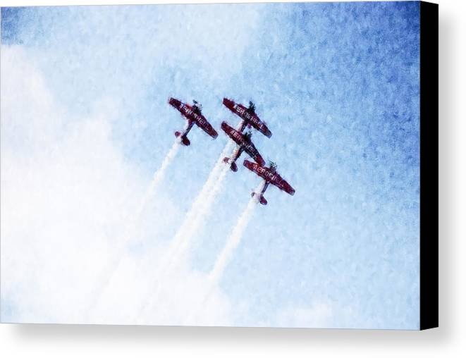 Chicago Canvas Print featuring the digital art 0166 - Air Show - Watercolor 1 by David Lange