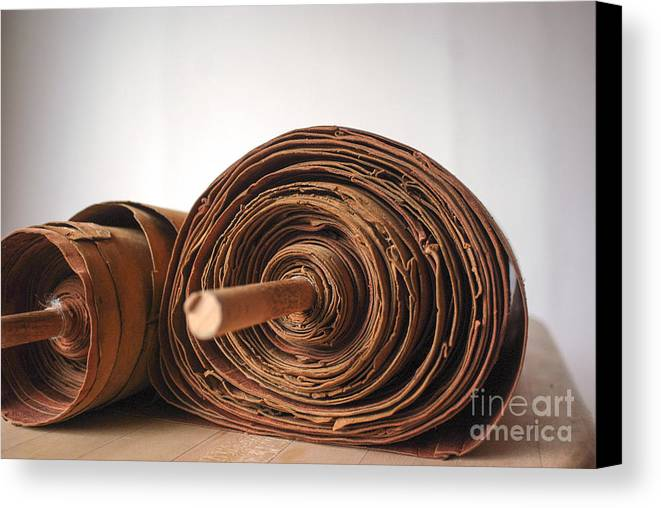 Judaism Canvas Print featuring the photograph Ancient Torah Scrolls From Yemen by Shay Fogelman