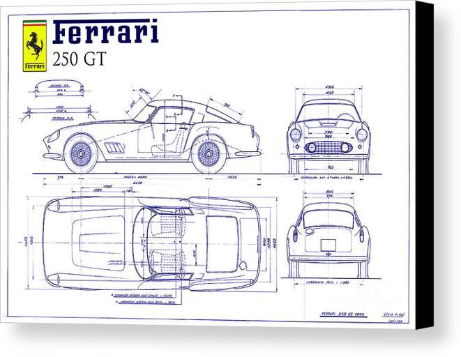 Ferrari 250 gt blueprint canvas print canvas art by jon neidert ferrari 250 gt blueprint canvas print featuring the drawing ferrari 250 gt blueprint by jon neidert malvernweather Gallery